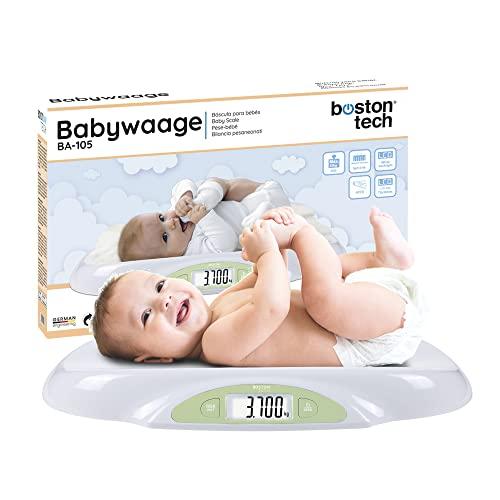 Balance Boston Tech BA-105 pour bébés et animaux de compagnie. Pour les nouveau-nés jusqu'à 25 kg. Batteries incluses. Balance numérique avec écran LCD. Fonction ZERO et TARE. Pour des calculs précis