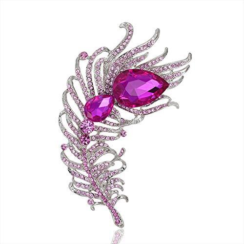 RWJFH Broche Broches de Estilo de Pluma de Cristal Grande para Mujer, alfileres de declaración Grandes, Accesorios de Fiesta, Accesorios de Traje, Rosa