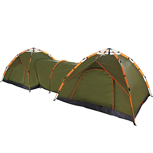 Qwest Double Instant Pop Up Camping Tents with Passageway, 6-Person 17' Long, Automatic Green Lightweight Portable | Aluminum & Fiberglass Poles | Sets up in Seconds, Water & UV Resistant