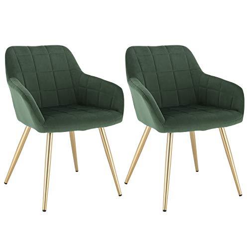 WOLTU® Esszimmerstühle BH232dgn-2 2er Set Küchenstuhl Polsterstuhl Wohnzimmerstuhl Sessel mit Armlehne, Sitzfläche aus Samt, Gold Beine aus Metall, Dunkelgrün