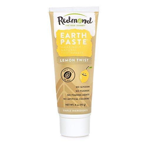 Redmond Earthpaste - Natural Non-Fluoride Toothpaste, 4 Ounce Tube (3 Pack, Lemon Twist)