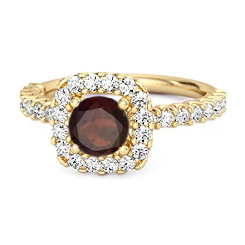 Shine Jewel Multi Elija su Piedra Preciosa Anillo Halo Chapado En Oro Amarillo De Plata De Ley 925 De 0.25 Ctw (14, Granate)