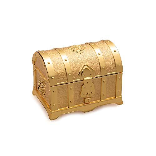 Feyarl Mini 3inch Vintage Golden Treasure Box Jewelry Trinket Box Organizer Keepsake Ring Earrings Box Chest for Valentine Wedding Christmas Birthday Gift