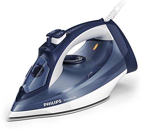 Philips PowerLife Steam Iron 2400W with SteamGlide Soleplate, 2400W, 150g Steam Boost, Dark Blue, GC2996/20