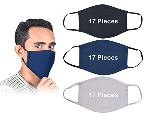 Pack of 51 Piece Face Cover Cotton Reusable Face Mask - Protective Fabric, Washable & Breathable Mouth Masks (17 Black,17 Blue,17 White)