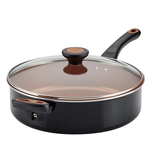 Farberware Glide Ceramic Nonstick Saute Pan / Frying Pan / Fry Pan with Lid and Helper Handle - 4 Quart, Black