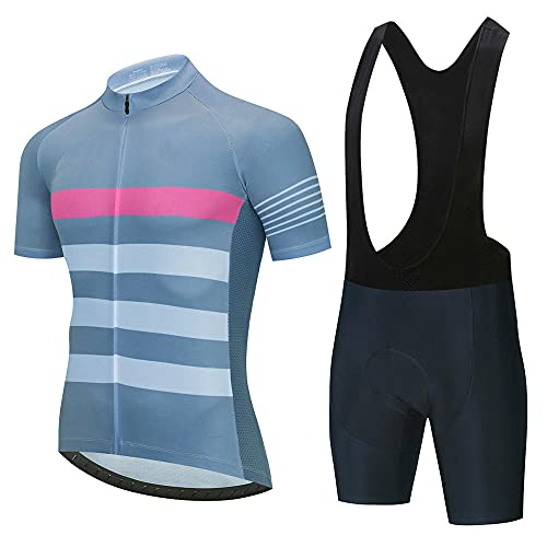 HXTSWGS Men's Summer Short Sleeve Cycling Suits Set,Summer Breathable Cycling Jersey Set Team Racing Jersey Sport Bicycle Shirt Pro Men Cycling Clothing-A13_M