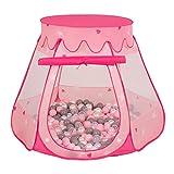 Selonis Tente 105X90cm/100 Balles Château Avec Les Balles Plastiques Piscine À Balles Pour Enfants, Rose: Perle-Gris-Transparent-Rose Poudré