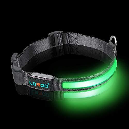LaRoo LED Hund Haustier Halsband LED Wiederaufladbare LED-Licht Sicherheitsleuchte mit Verstellbarer Nylonleine für kleine, mittlere und große Hunde (14-20 Inch)
