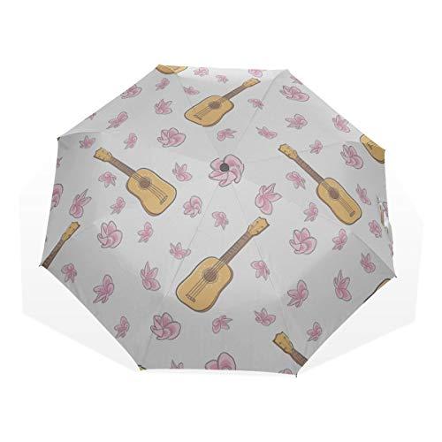 Travel Umbrellas Kids Retro Music Free Art Ukulele Instrument 3 Fold Art Umbrellas(outside Printing) Portable Umbrella Compact Best Folding Umbrella Compact Sun Umbrella