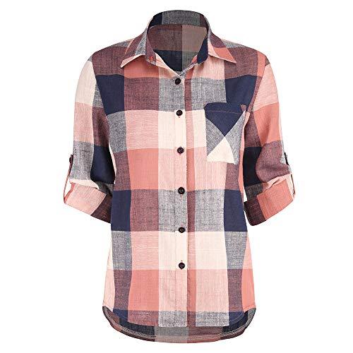 Damen T Shirt, CixNy Mode 2019 Bluse Damen Sommer Lässige passende Farbe Langarm Taste Lose Karo Oberteil Tops S-XXXXXL (Orange, Medium)