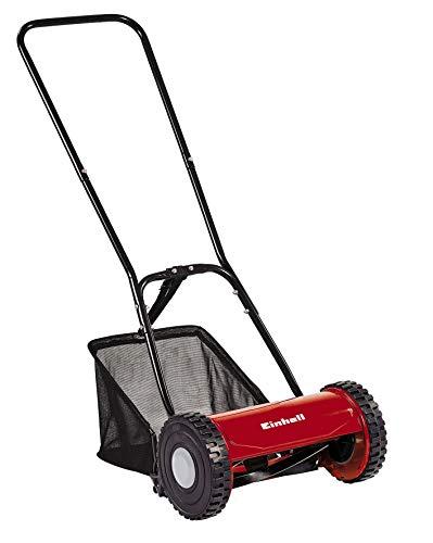 Einhell Hand-Rasenmäher (für bis zu 150 m², Mähspindel mit 5 Stahlmessern, stufenlose Schnitthöhenverstellung, Grasfangkorb)