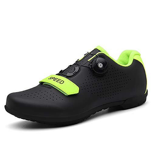 Photo of FYRS Non-locking Cycling Shoes/with Rotating Buttons, Non-slip and Wear-resistant, Suitable for Outdoor Cycling, Road Self-help,Black,46