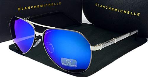 BLANCHE MICHELLE Sonnenbrille Pilot polarisiert Damen Herren Unisex BM8775 grau/silber/blau