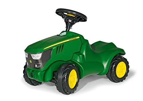 Rolly Toys 132072 Traktor Minitrac John Deere 6150R, Babyrutscher, Motorhaube öffenbar, Ablagefach unter Motorhaube, Lenkrad mit Hupe (für Kinder ab 1,5 Jahren, Farbe: Grün)