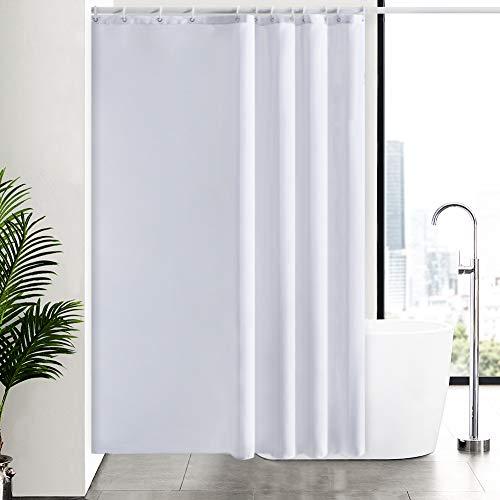 Furlinic Weiß Duschvorhang, Textiler Vorhang für Badewanne & Dusche Wasserdicht, Badvorhang Anti-schimmel aus Stoff für Badezimmer Waschbar, mit 12 Ringe 180x210.