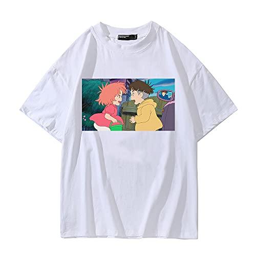 SHIQI-DYMX Ponyo On The Cliff Camisetas, Camisetas, Camisetas, Camisetas, Casual, Manga Corta, Anime, Manga, Camiseta,XXXL