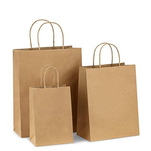 BagDream Kraft Paper Bags 5x3x8& 8x4.25x10& 10x5x13 25 Pcs Each, Gift Bags, Kraft Bags,Shopping Bags With Handles, Paper Shopping Bags, Craft Bags, Merchandise Bags, 100% Recyclable Paper