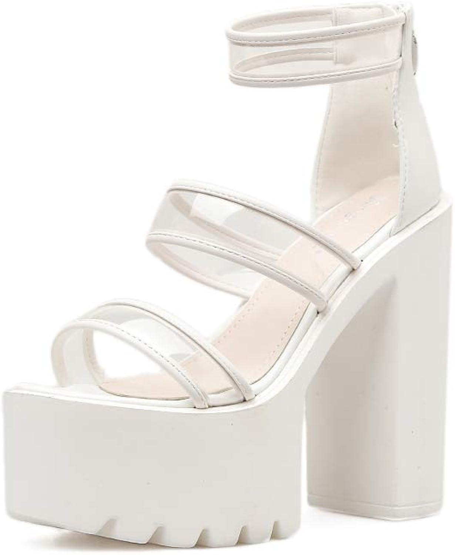 Women's Super High Heel Sandals PU Transparent Ankle Strap Platform shoes Wedding Party Evening Dress shoes White Black,White,37