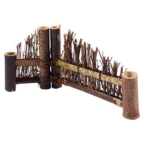 Kisangel Holz Zaun Grenze Japanischen Stil Kleine Zaun Dekorative Miniatur Einfassung Zaun Panel Dekoration für Puppenhaus Blume Bett Landschaft 24X6cm