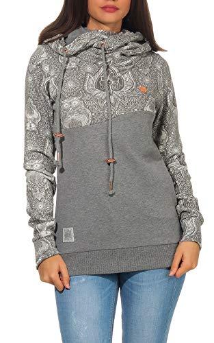 Aiki Keylook Damen Kapuzen-Sweatshirt Hoodie Fuk ORO mit Eulen-Muster-Druck 192-12-1023 Anthracite XS
