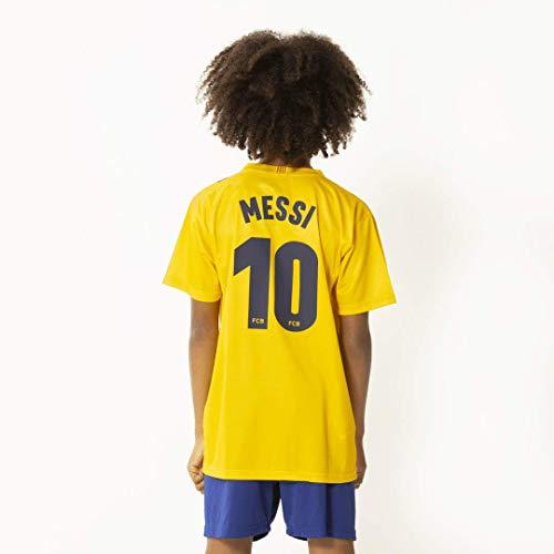 Morefootballs - Offizielles Lionel Messi FC Barcelona Auswärts Trikot Set für Kinder - Saison 19/20 - Größe: 140 - Tenue mit Messi Nummer 10 Trikot und kurzer Hose - Fussball Shirt und Shorts