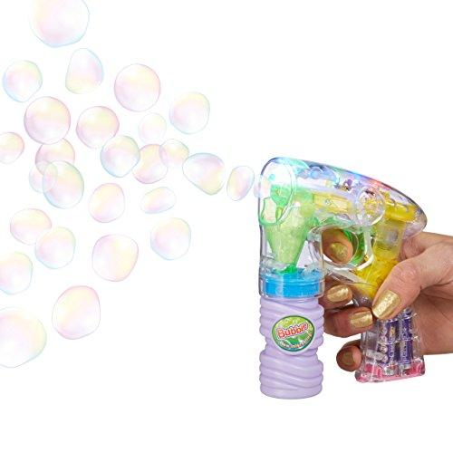 Relaxdays Seifenblasen-Pistole mit Seifenblasenlösung, inkl. Batterien, LED-Licht, handlich, für Party, Karneval, Fasching, HBT: 14,5 x 11,5 x 5 cm, transparent