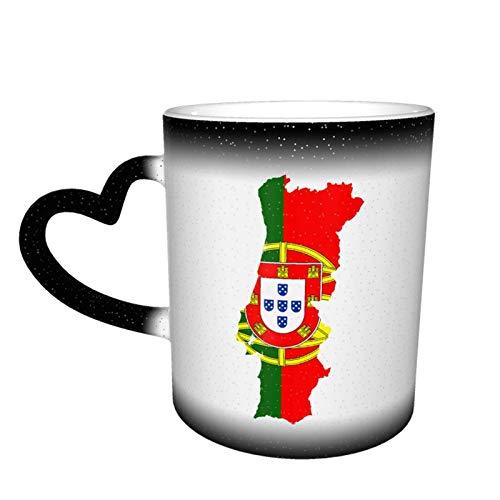 Bandera Mapa de Portugal Taza que cambia de color Gran diseño de taza de café Taza de cerámica sensible al calor, 11 oz