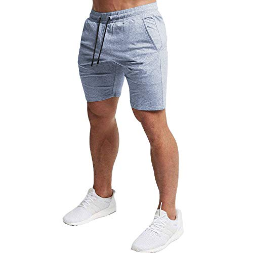 EVERWORTH Men's Casual Training Shorts Gym Workout Fitness Short Bodybuilding Running Jogging Short Pants Gray XL Tag 3XL