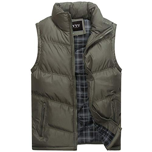 Flygo Men's Stylish Cotton Padded Vest Quilted Lightweight Down Puffer Jacket Coat (Army Green, Medium)