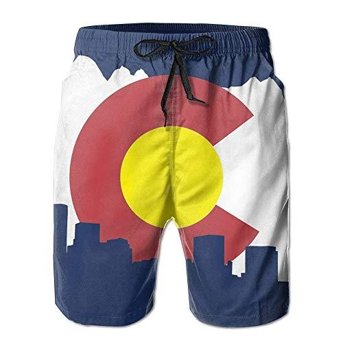 Jiger Colorado-Flag Mens Summer Casual Board Shorts Quick Dry Beach Shorts Swim TrunksL