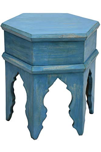Marokkanischer Vintage Beistelltisch Hocker aus Holz Inam Blau ø 50cm rund | Orientalischer runder Tisch Blumenhocker klein für Wohnzimmer oder Küche | Orientalische Beistelltische als Dekoration