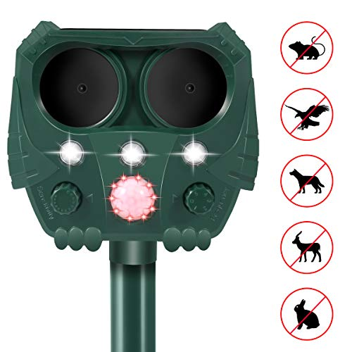 PETBROO Dog Cat Repellent, Ultrasonic Pest Repellent with Motion Sensor and Flashing Lights Outdoor Solar Powered Waterproof Farm Garden Yard Repellent, Cats, Dogs, Foxes, Birds