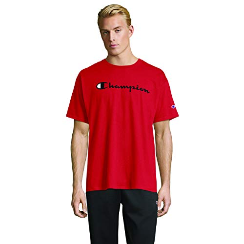 Champion Men's Classic Jersey Script T-shirt, scarlet, Large