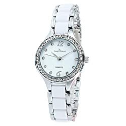 White Two-Tone Quartz Waterproof Wristwatch With Rhinestones