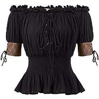 Belle Poque Top Mujeres Steampunk Blusa Victoriana Medieval Top Retro Vintage Mid-Long Lace Flying 100% ALGODÓN Talla XL Negro