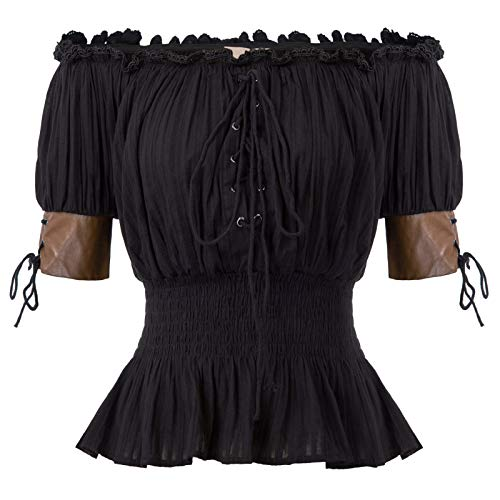 Steampunk Renaissance Peasant Blouses Shirts Top Pirate Shirt Women 2XL Black