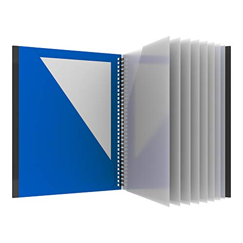 Oxford 10 Pocket Folder, Sturdy Plastic Spiral Portfolio, Anti-Tear Edges, 8 Clear Pockets, 2 Diagonal Interior Pockets, Letter Size, Blue (89331)
