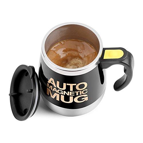 Fdit Magnetischer mischender Becher Selbst rührende Kaffeetasse Edelstahl Selbstmagnetbecher für Kaffee Tee heiße Schokoladen Milch Kakao Protein (Schwarz)