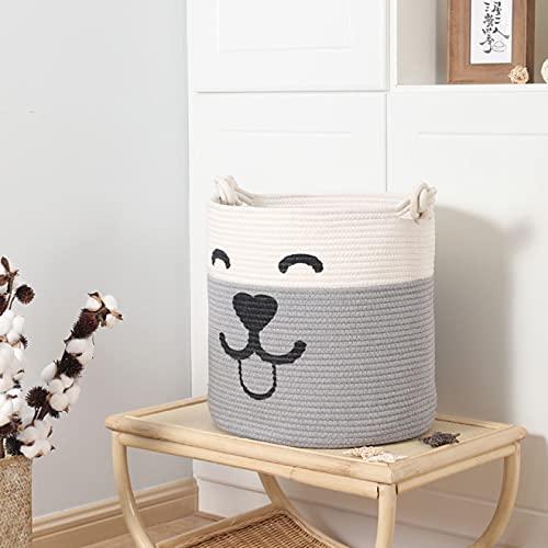 Cesta de almacenamiento de cuerda de algodón de 40 x 38 cm de cuerda de algodón tejida cesta de almacenamiento de juguetes de gran