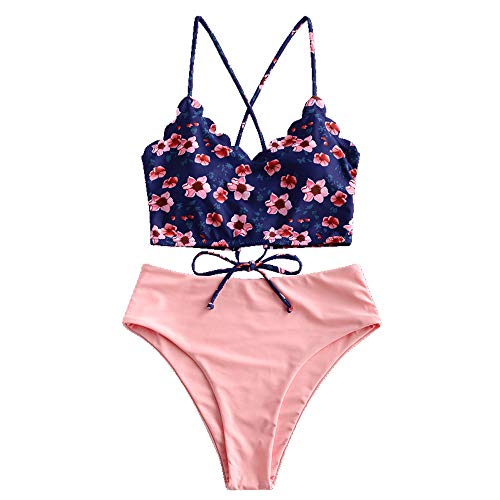 ZAFUL Women's Leaf Print Lace Up Ruched High Waisted Tankini Set Swimsuit (P-Rose, L)