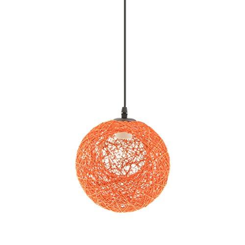 Gazechimp 20CM Lámpara de Techo Diseño con Bola con Agujero de Hierro + Bambú Rattan Accesorio Decorativo de Cafetería de Hogar - naranja