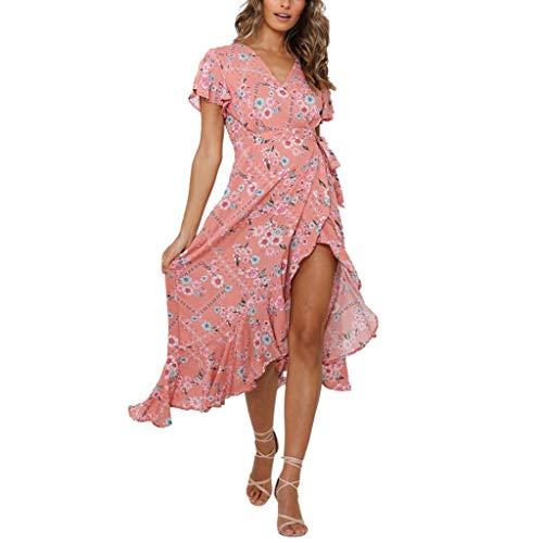 Longra dames zomerjurk V-hals wikkeljurk sexy ruches maxi-jurk vintage boho strandjurk strandjurk strandjurk vrijetijdskleding