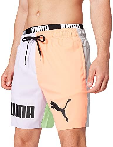 PUMA Swim Men's Colour Block Mid Shorts Bañador, M para Hombre