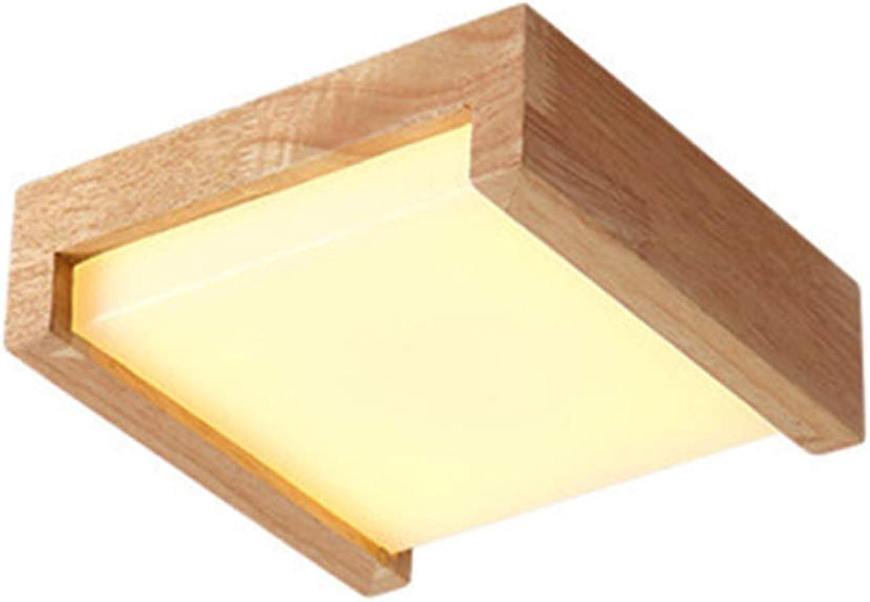 WVUSGDTT LED Wandleuchte Platz Gummi Holz Nordic Acrylic10W Schlafzimmer Nachttischlampen Dekorative Lampen Nachtlicht Warmwei für Treppenhaus Balkon Beleuchtung-Woodgrain-20  20  6CM