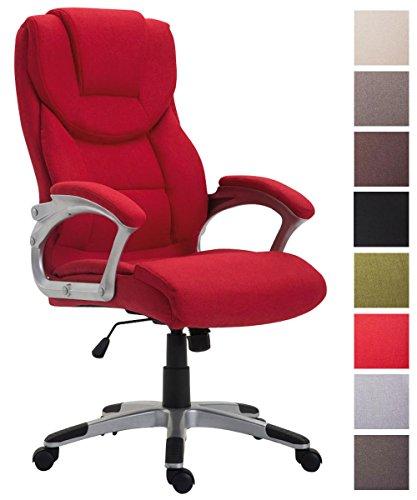 CLP Silla de Oficina XL Texas V2 en Tela I Silla Ejecutiva con Mecanismo de Balanceo I Silla de Escritorio Acolchada & con Ruedas I Color: Rojo
