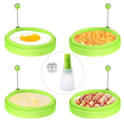 PEIPONG Ei Ring Silikon, 4 Stück Silikono Spiegelei Schimmel die zum Kochen von Spiegelei/Pfannkuchen/Omeletts und mehr, verwendet Werden, Silikon in Lebensmittelqualität(Ölflaschenbürste Enthält)
