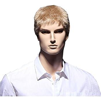 KOLIGHT Hot Businessmen Short Blonde Wigs Hair Men Real Looking Hair Wig