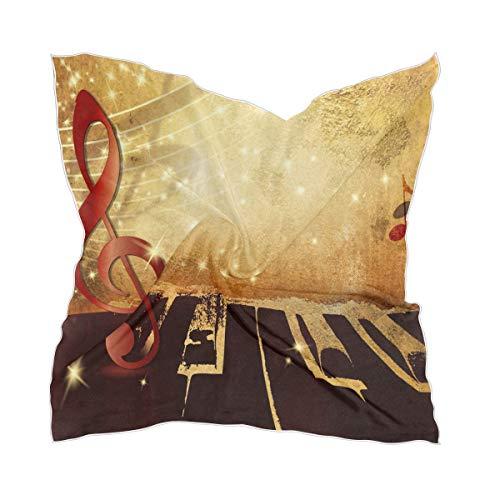 LZXO Damen Schal Retro Klavier Musiknoten Quadratischer Schal Kopfschmuck Kopftuch Kopftuch Kopftuch Leichtes Halstuch Stirnband mit 10 x Bobby Pins - 60 x 60 cm