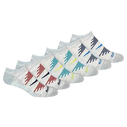Saucony Men's Multi-Pack Firework Ventilating Performance Comfort No-Show Socks, Grey Blue Assorted (6 Pairs), Shoe Size: 8-12